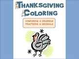 THANKSGIVING:  Compare Decimals & Fractions Color Sheet