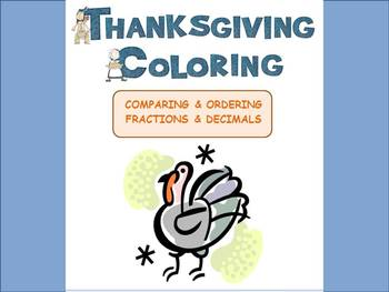 THANKSGIVING:  Compare Decimals & Fractions Color Sheet
