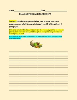 THANKSGIVING DAY BIBLE PROMPT