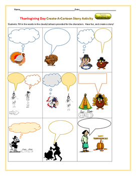 THANKSGIVING DAY-CREATE A CARTOON STORY LINE