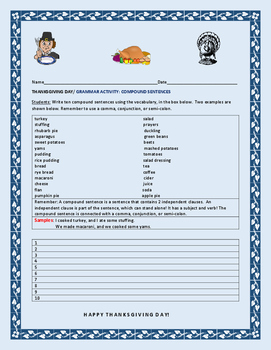 THANKSGIVING DAY: GRAMMAR ACTIVITY: COMPOUND SENTENCES