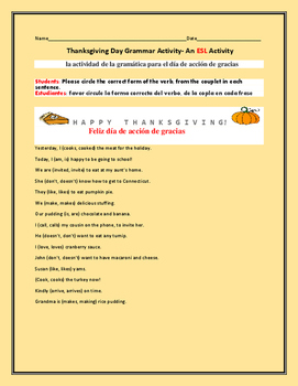 THANKSGIVING DAY GRAMMAR/ ESL ACTIVITY