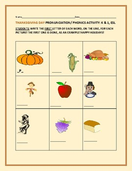 THANKSGIVING DAY PHONICS ACTIVITY: K & 1, ESL