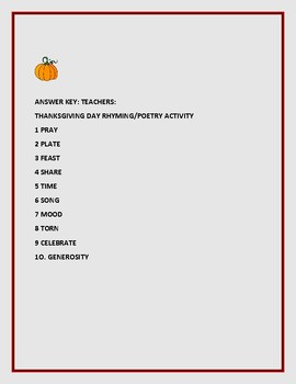 THANKSGIVING DAY POETRY ACTIVITY