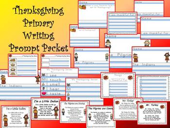 THANKSGIVING DAY PRIMARY WRITING PROMPT BUNDLE Kindergarte