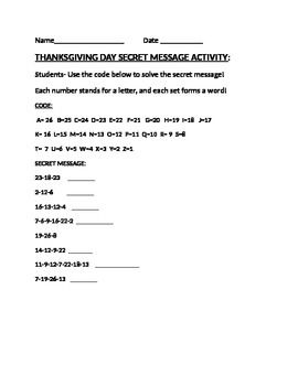 THANKSGIVING DAY SECRET MESSAGE ACTIVITY
