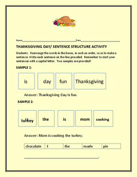 THANKSGIVING DAY/ SENTENCE STRUCTURE ACTIVITY