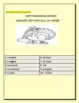 THANKSGIVING DAY VERB ACTIVITY W/ ART PORTION : GRS. 3-6, ESL