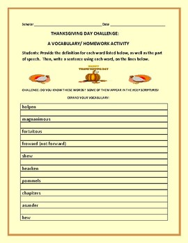 THANKSGIVING DAY VOCABULARY CHALLENGE: GRADES 6-12, MG, AP ENGLISH