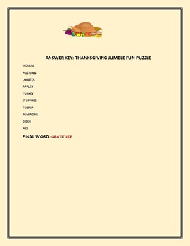 THANKSGIVING DAY WORD JUMBLE PUZZLE