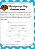 THANKSGIVING DAY poem writing template