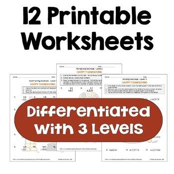 Thanksgiving Decimal Worksheet Bundle (3 Levels)