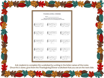 Thanksgiving Dinner - 3 Treble Clef Activities