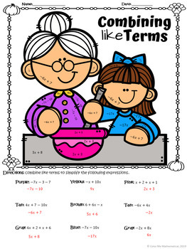 THANKSGIVING DINNER - Basic Algebra - Combining Like Terms Worksheet