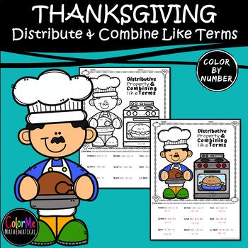 THANKSGIVING DINNER - Basic Algebra Distributive Property & Combining Like Terms