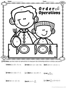 THANKSGIVING DINNER - Basic Algebra - Order of Operations Worksheet