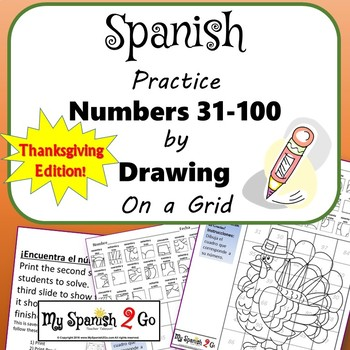 THANKSGIVING: Draw the Square in the Grid for Spanish #'s 31 to 100