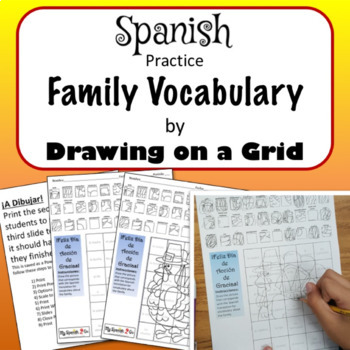 THANKSGIVING: Draw the Square in the Grid for translation of FAMILY VOCAB-Fun!