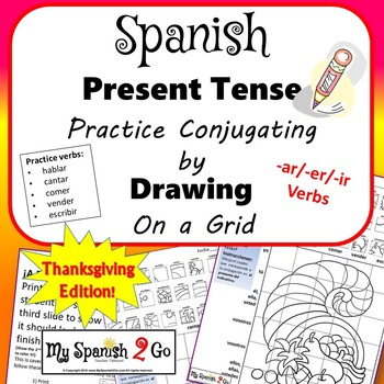 FALL OR THANKSGIVING EDITION!  PRESENT TENSE SPANISH  Draw
