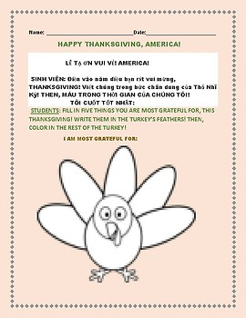 THANKSGIVING ESL ACTIVITY: VIETNAMESE
