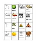 THANKSGIVING ESL WORD MATCH TILES.:ENGLISH/ SPANISH