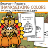 THANKSGIVING Color Words Emergent Reader Differentiated With 2 Levels