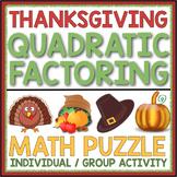 THANKSGIVING FACTORING QUADRATICS ACTIVITY