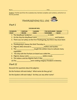 THANKSGIVING FILL-INS ACTIVITY,GRADES 4-7