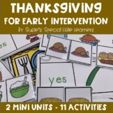 THANKSGIVING FOOD EARLY LITERACY &  VOCABULARY FOR AUTISM