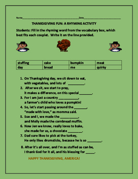 THANKSGIVING FUN: A RHYMING ACTIVITY