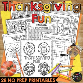 THANKSGIVING FUN Packet Crosswords, Word Search, Math, Reading