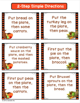 Thanksgiving Following Directions Game - Speech Therapy
