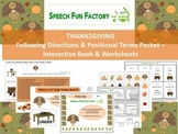 THANKSGIVING Following Directions & Positional Terms Packet