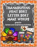 THANKSGIVING Font Sort Letter Sort Make Words