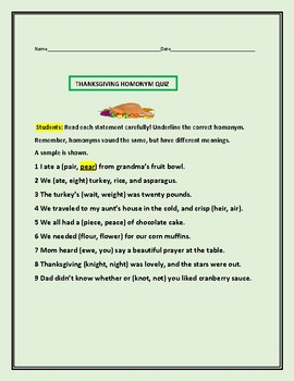 THANKSGIVING HOMONYM QUIZ