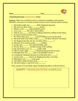 THANKSGIVING & HOMONYMS ACTIVITY