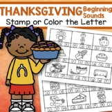 THANKSGIVING Initial Beginning Sounds Stamp or Color in b/w FREE