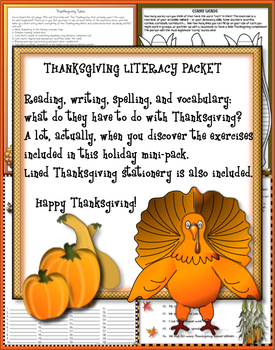 THANKSGIVING LANGUAGE ARTS LITERACY MINI-PACKET