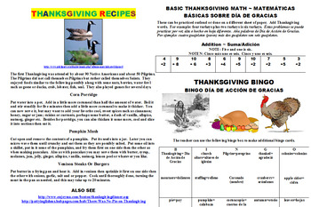 THANKSGIVING LEARNING PACK (FUN, SPANISH ESL TOO)