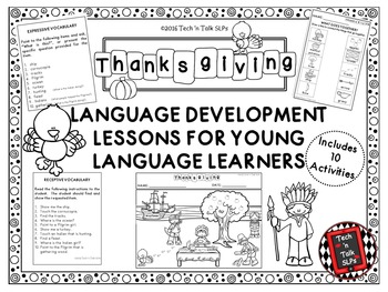 THANKSGIVING Language Development Lessons for Young Langua