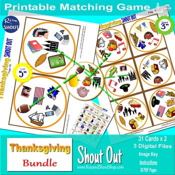 THANKSGIVING Shout Out; Spot the Match Game,