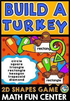 THANKSGIVING MATH CENTER KINDERGARTEN (BUILD A TURKEY ACTIVITY) 2D SHAPES GAME