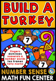 THANKSGIVING ACTIVITY KINDERGARTEN (BUILD A TURKEY NUMBER SENSE GAME FALL CENTER
