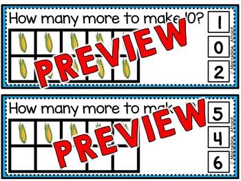 THANKSGIVING MATH ACTIVITIES: MAKING 10 CLIP CARDS:KINDERGARTEN MAKING 10 CENTER
