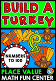 THANKSGIVING ACTIVITIES FIRST GRADE (BUILD A TURKEY PLACE VALUE GAME)