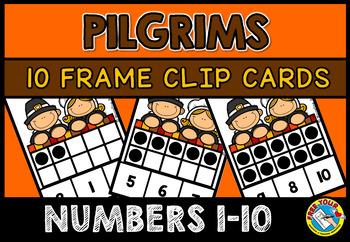 THANKSGIVING MATH CENTER: PILGRIM TEN FRAMES CLIP CARDS (P