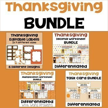 Thanksgiving Math Mega Bundle - Worksheets, Task Cards, and Editable Labels