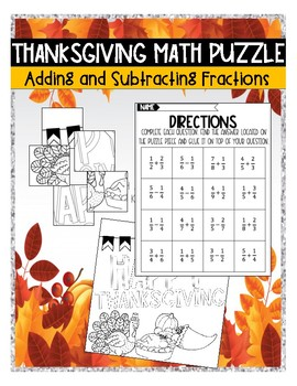 THANKSGIVING MATH PUZZLE: ADDING AND SUBTRACTING FRACTIONS