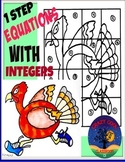 THANKSGIVING MATH PUZZLE : ONE STEP EQUATIONS WITH INTEGERS