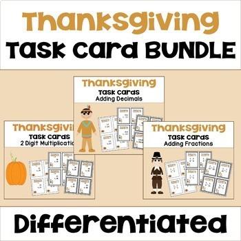 Thanksgiving Math Task Card Bundle (3 Levels)